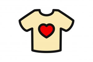 t-shirt with heart icon illustration